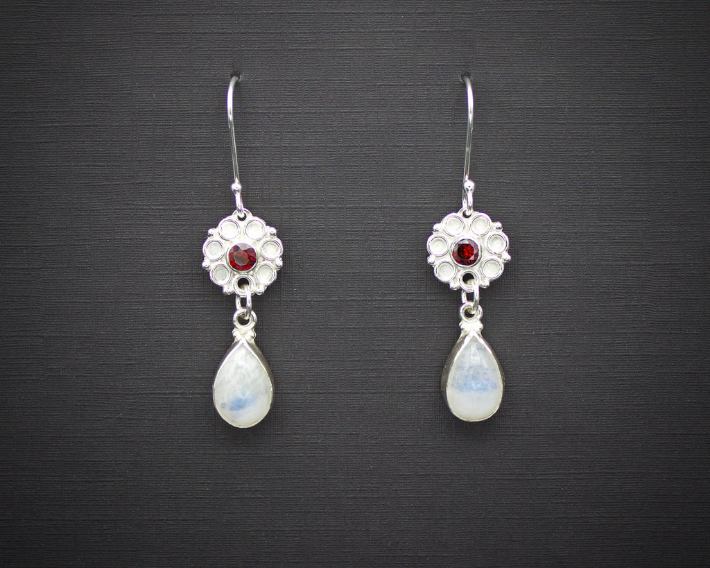 Garnet and Moonstone Rose Drop Earrings