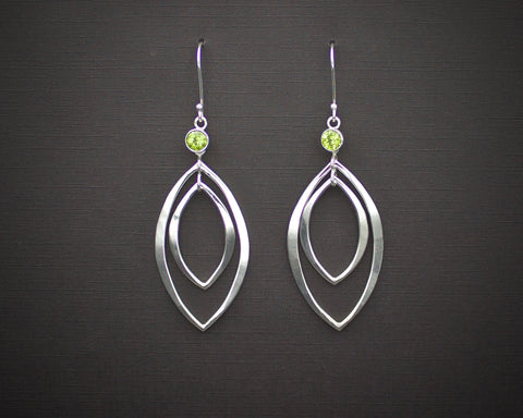 Nested Leaf Earrings with Peridot
