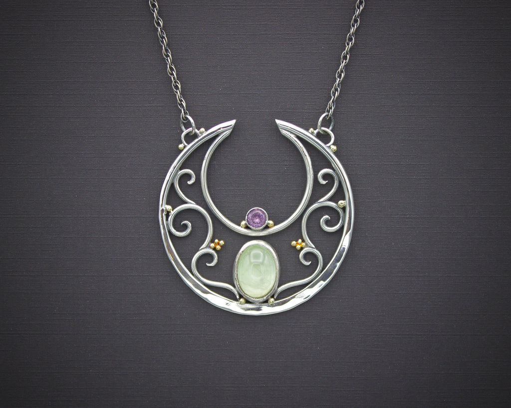 Spring Bloom Lunula Necklace with Prehnite and Spinel