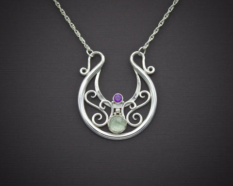 Scottish Thistle Lunula with Green Quartz and Amethyst
