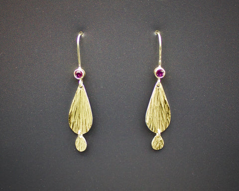 Ruby and Gold Sundrop earrings