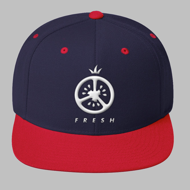 Blue Snapback with Red Brim and White Tomato