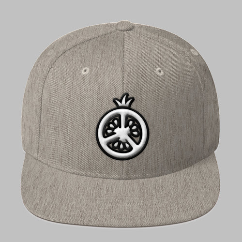 Grey Fresh Classic Snapback Hat with Tomato