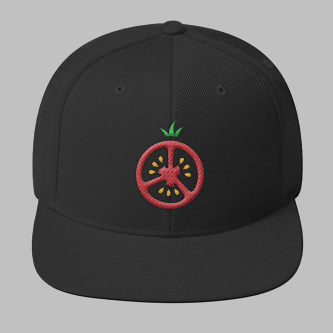 Black Snap Back with Red and Green Tomato