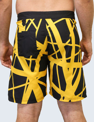 '79 Board Shorts (Black Body/Yellow)