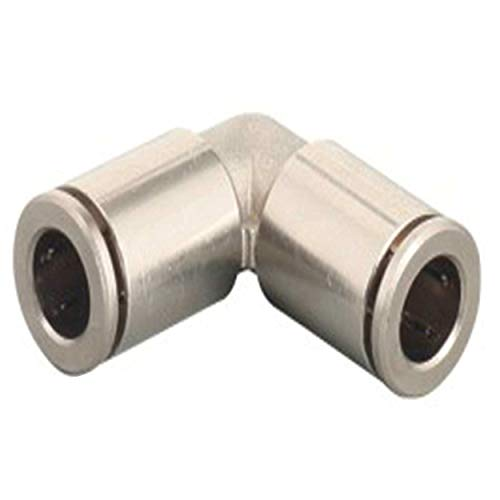 1/4 Push to Connect Fittings Nickel-Plated Brass Elbow Air Fittings Push Connect Air Tube Connectors Push Lock Fittings for Air Tubing (2 Brass Elbow in Pack)
