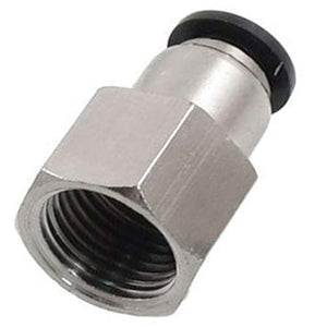 "Push to Connect Air Fittings 1/4"" Od 1/4"" Npt Female Nylon & Nickel-Plated Brass Pneumatic Fittings Air Line Fittings Straight Union Fitting PTC Pneumatic Connectors 10 pack"