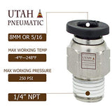 "Utah Pneumatic Push to Connect Air Fittings 8mm Od 1/4"" Npt Straight Union Nylon & Nickel-Plated Brass Pneumatic Fittings Air Line Fittings Air Fitting Union Fitting Pneumatic Connectors Pack of 10"