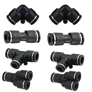 "Utah Pneumatic Push to Connect Air Fittings 1/4"" Od 8pcs Combo Kit 2 Y Spliter 2 Tee 2 Elbow 2 Straight Fittings for Plastic Tube Connect Push Pneumatic Fittings"