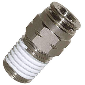 "Push To Connect Fittings Nickel-Plated Brass Pc Male Straight 1/4""Od 1/8""Npt Thread Straight Connect Push Fit Fittings Tube Fittings Pneumatic Fittings 5 Pack"