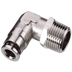 "Push to Connect Air Fittings 1/4"" Od 1/8"" Npt Elbow Nickel-Plated Brass Pneumatic Fittings Air Line Fittings 90 Degree Air Fitting Union Fitting Pneumatic Connectors (5 Pack pl1/41/8b)"