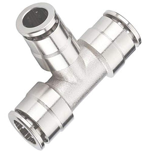 "Pack of 5 Nickel-Plated Brass Push to Connect Air line Fittings Tee 1/4""Od Union Connect Air Fittings Quick Connect Push Lock Fittings Air Bag Fittings Pneumatic Fittings"