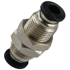 "Utah Pneumatic Push to Connect Tube Fitting, Bulkhead Union – 1/4"" Tube OD X 1/4"" Tube OD (5 Pack)"