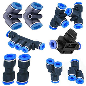 Utah Pneumatic 6mm od to 6mm Push to Connect Fittings Pneumatic Fittings kit 2 Spliters+2 Elbows+2 tee+2 Straight+1 Manifold+ Hand Valves Ultimate Professional set10 Pack Plastic (6mm Combo)