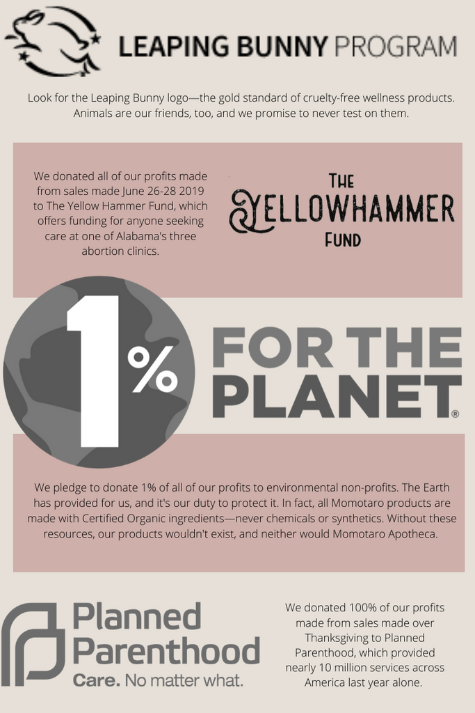 Leaping Bunny Certified, 1% For the Planet, Planned Parenthood Donation, The Yellow Hammer Fund Donation