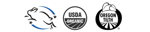 Leaping Bunny Certified, Oregon Tilth Certified Organic