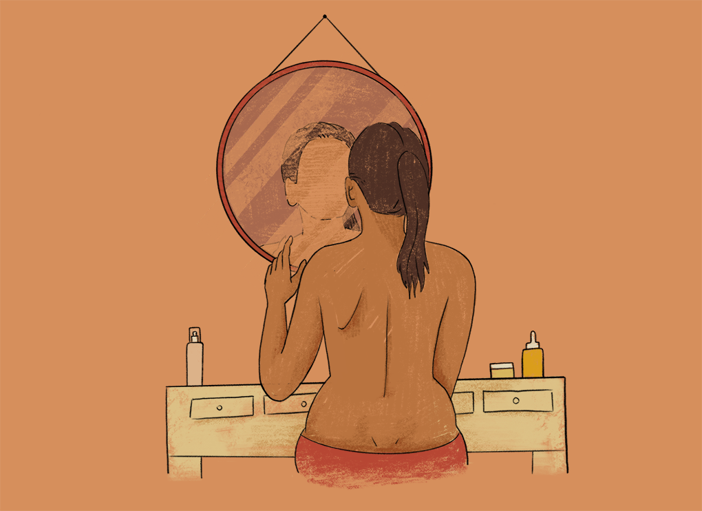 Illustration of faceless person looking at their reflection in the mirror