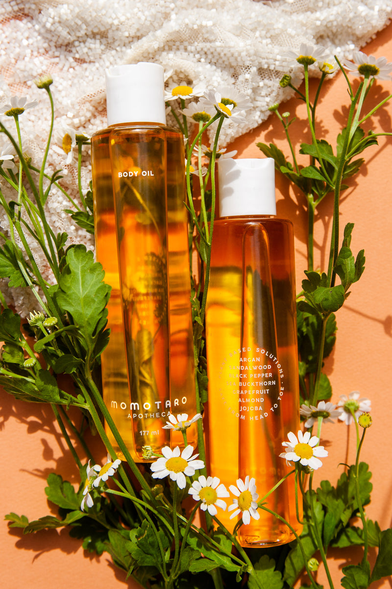 Momotaro Body Oil and Flowers