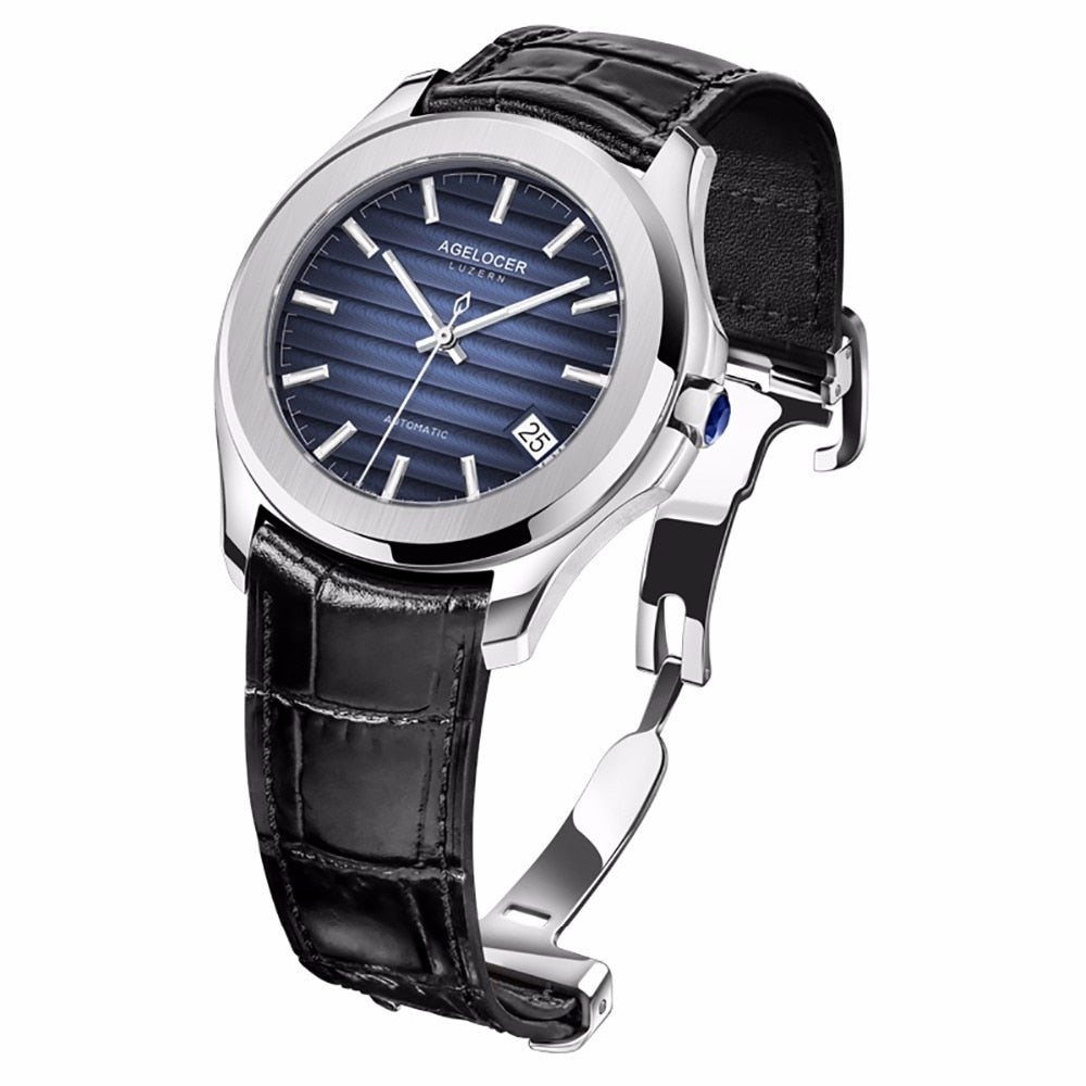 bb6ae3a8947 Agelocer Top Brand Luxury Dress Watches Blue Dial Steel Automatic Watc