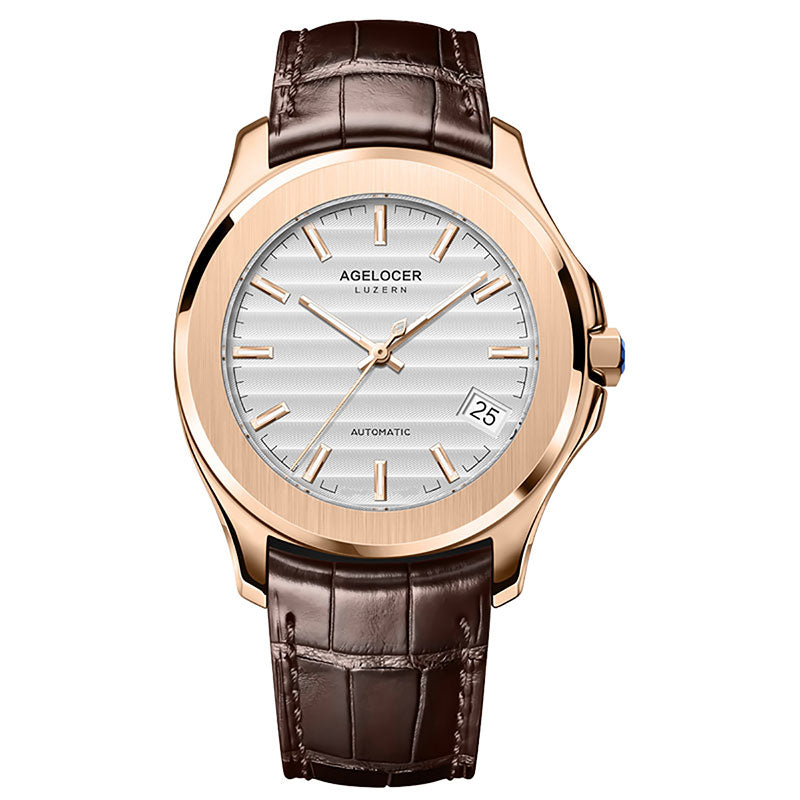 47ca2142564 Agelocer Top Brand Luxury Dress Watches Blue Dial Steel Automatic ...