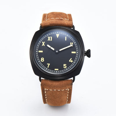 Symbol Of The Brand 47mm Parnis White Dial Stainless Steel Case Leather Strap Top Brand Luxury Newest St 6497 Mechanical St Manual Wind Mens Watch Mechanical Watches