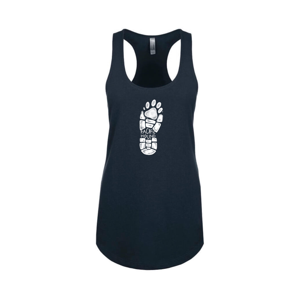 navy hiking boot and paw print tank