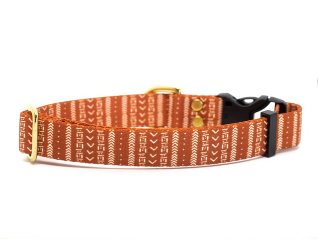 Elements Series - Rust Mudcloth Dog Collar