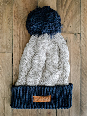 Navy & Charcoal Knit Beanie