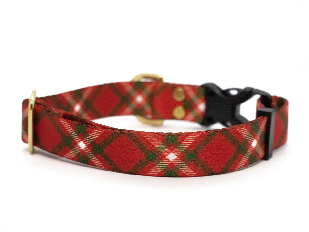 Elements Series - Red and Green Plaid Dog Collar