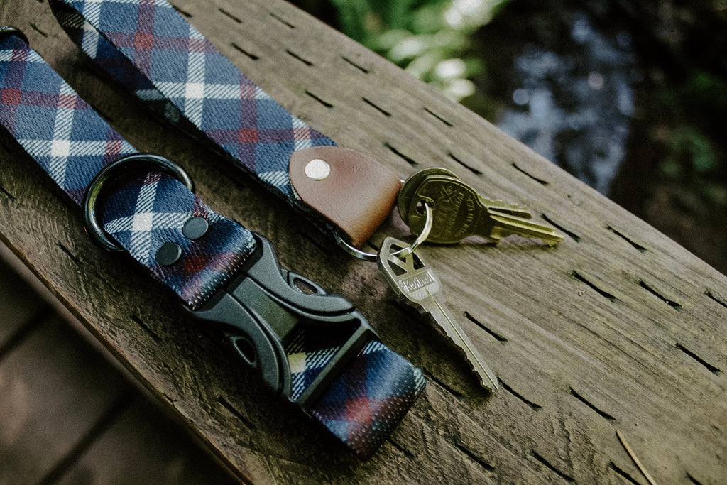 Navy Plaid Patriotic Waterproof Dog Collar