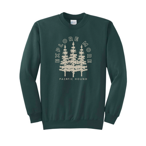 Explore More Crewneck- Forest Green