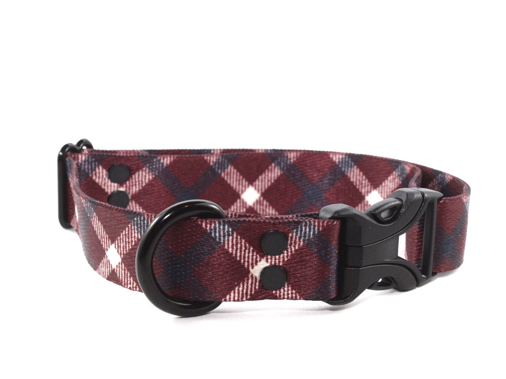 Red Plaid Patriotic Waterproof Dog Collar