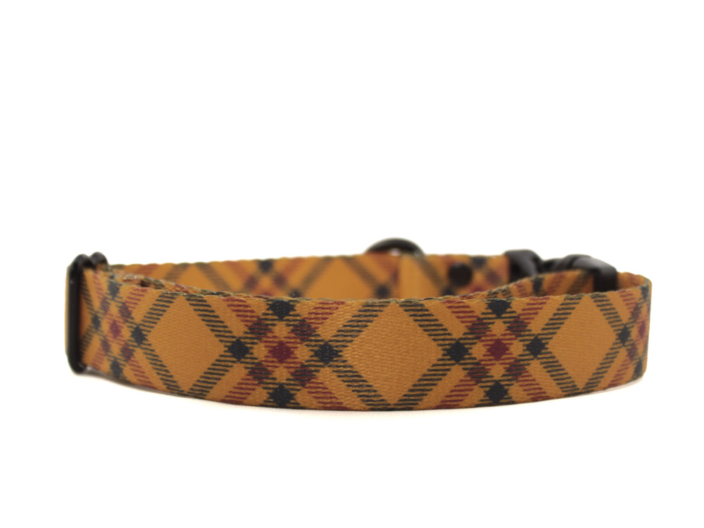 Mustard Plaid Dog Collar