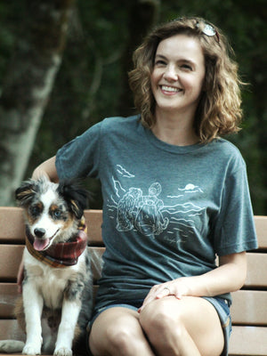 Hiking with dogs t-shirt