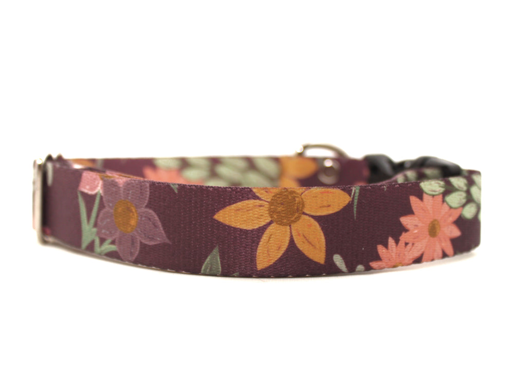 Purple Floral Dog Collar