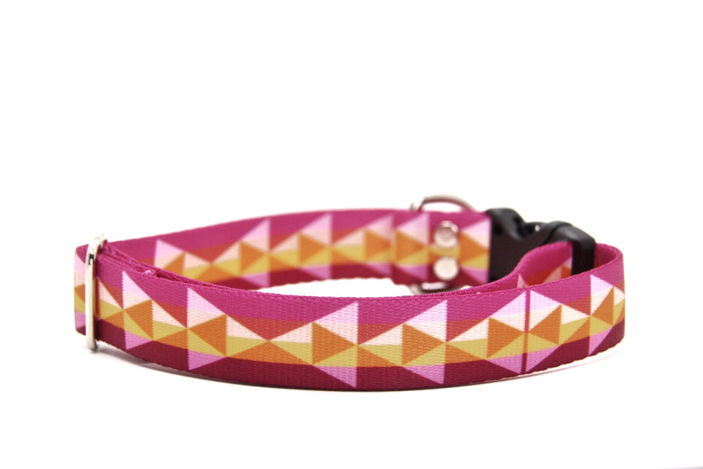 Elements Series - Fuchsia Geometric Dog Collar