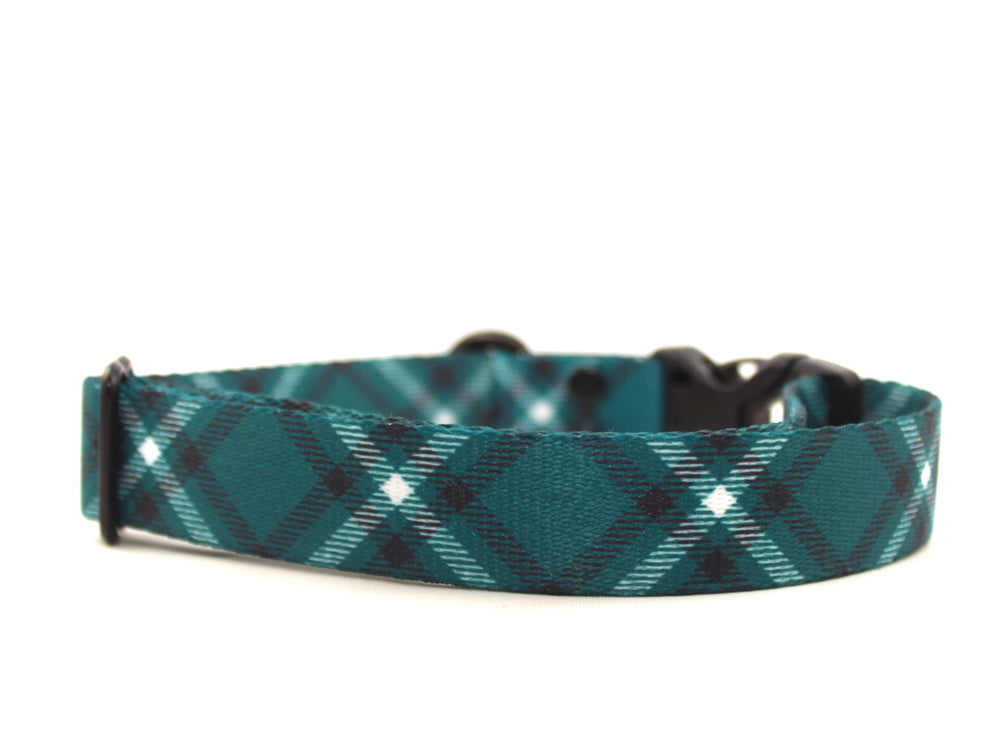 Teal Plaid Dog Collar