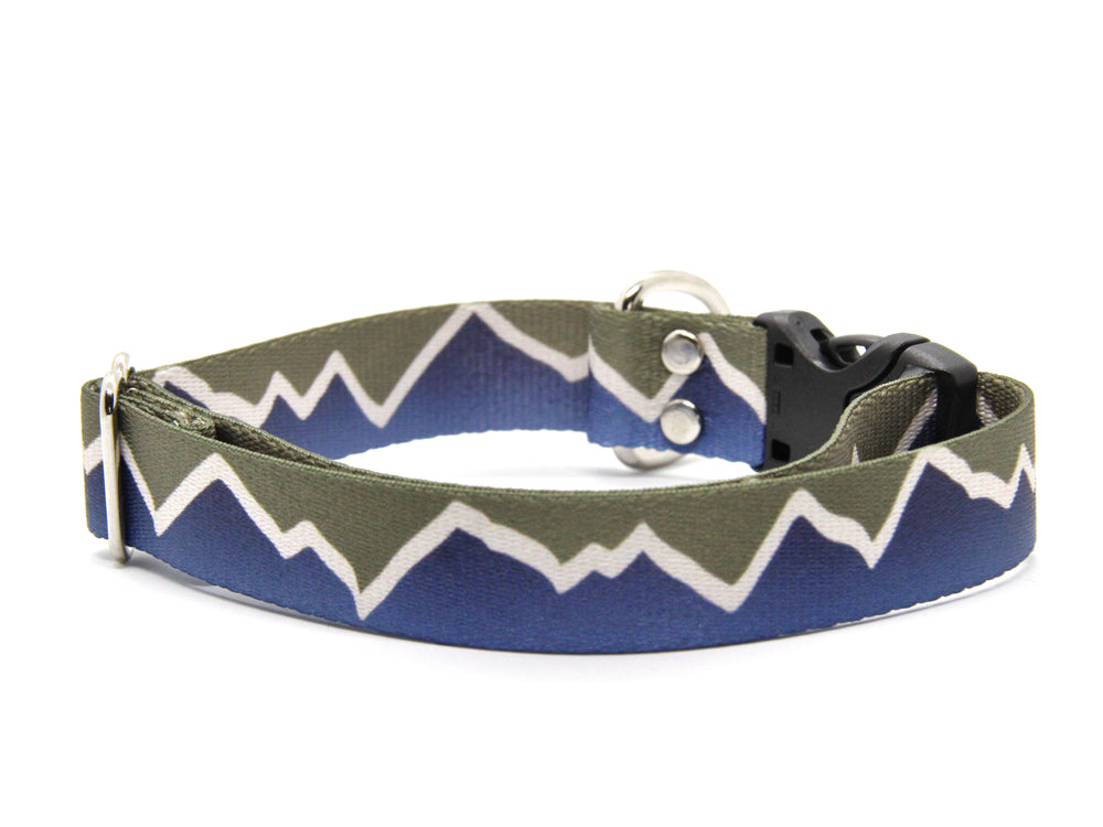Navy Mountains Dog Collar