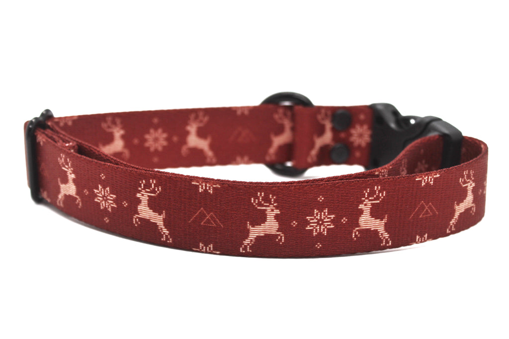 Red Reindeer Dog Collar
