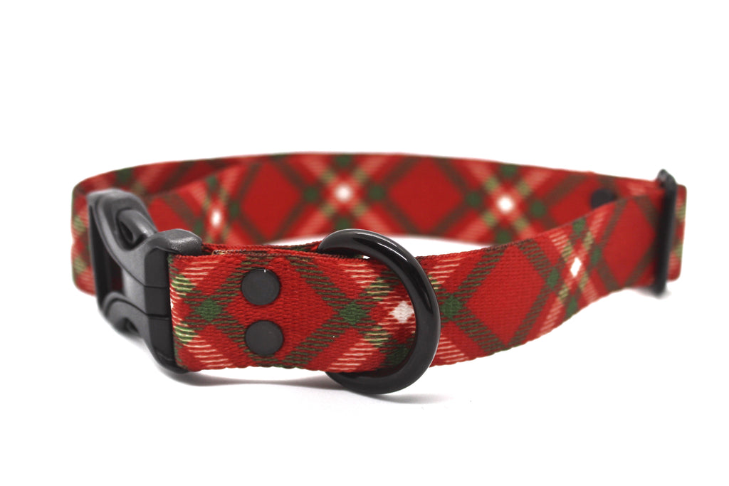 Red & Green Plaid Dog Collar