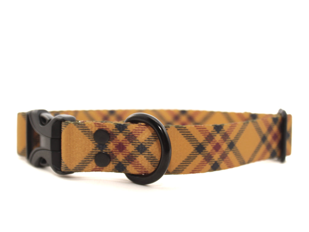 Elements Series - Mustard Plaid Dog Collar