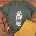 olive hiking boot and paw print tee