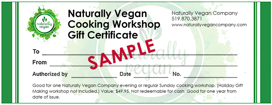 Cooking Workshop Gift Certificate