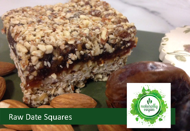 Naturally Vegan Raw Date Squares
