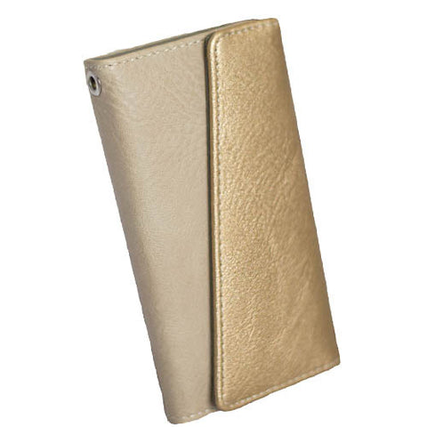 iPhone 6+/7+/8+ Vertical Angle Flap Folio - Shimmer Gold/Bone