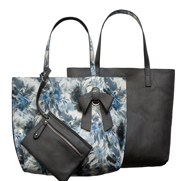 Nadia Reversible Tote - Gray Floral Only