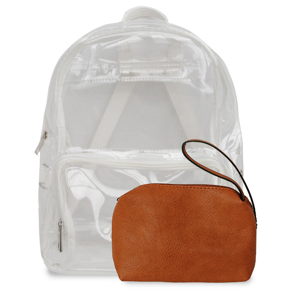 K. Carroll Accessories Burnt Orange White Clear Backpack