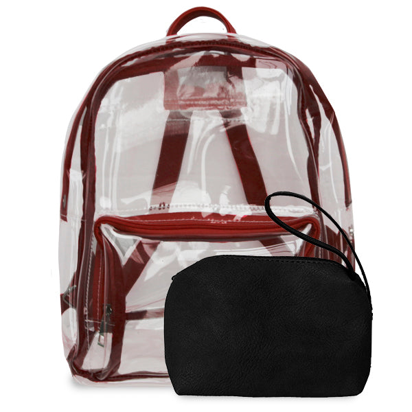 K. Carroll Accessories Black Maroon Clear Backpack