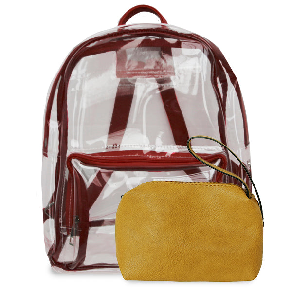 K. Carroll Accessories Maroon Gold Clear Backpack