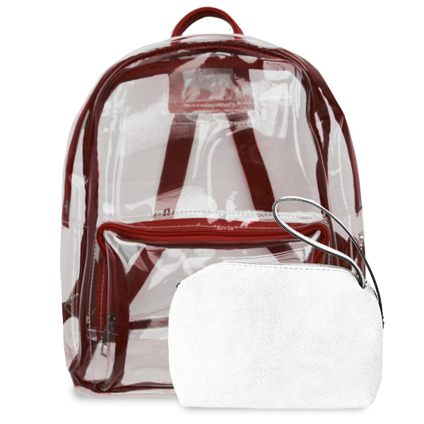 K. Carroll Accessories Maroon White Clear Backpack